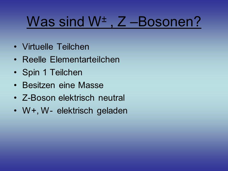 Was sind W ±, Z –Bosonen? Virtuelle Teilchen Reelle Elementarteilchen Spin 1 Teilchen Besitzen eine Masse Z-Boson elektrisch neutral W+, W- elektrisch
