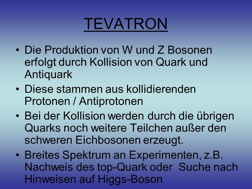 TEVATRON Die Produktion von W und Z Bosonen erfolgt durch Kollision von Quark und Antiquark Diese stammen aus kollidierenden Protonen / Antiprotonen Bei der Kollision werden durch die übrigen Quarks noch weitere Teilchen außer den schweren Eichbosonen erzeugt.