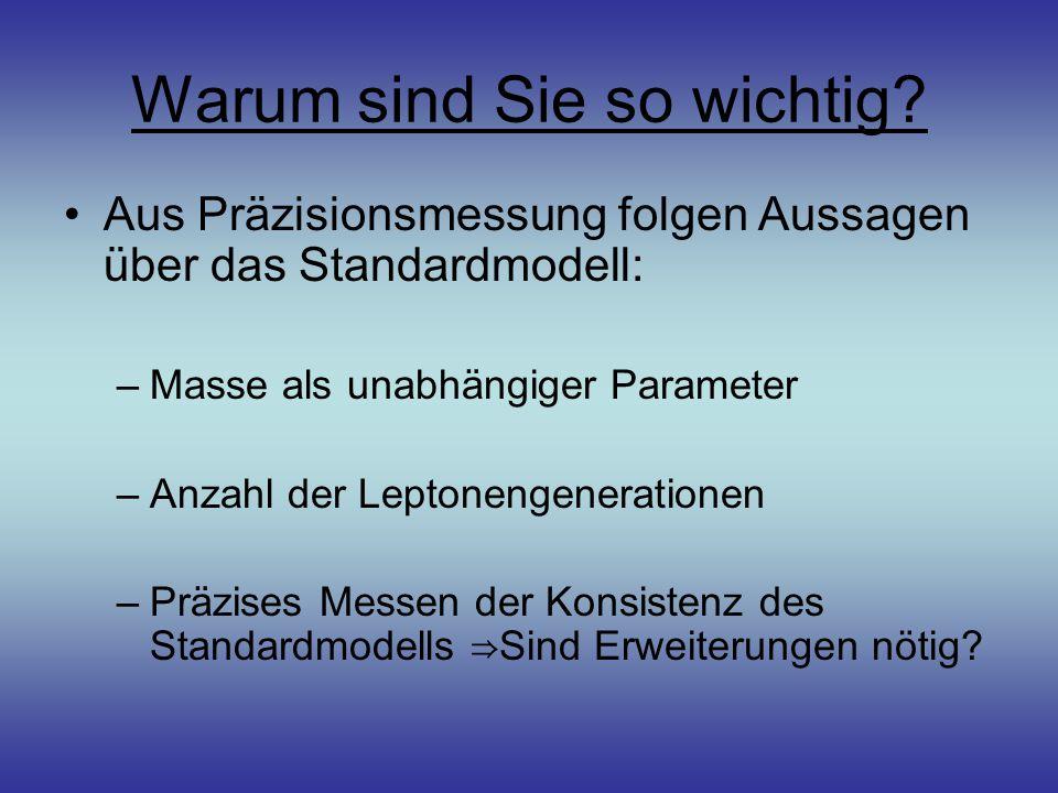 Warum sind Sie so wichtig? Aus Präzisionsmessung folgen Aussagen über das Standardmodell: –Masse als unabhängiger Parameter –Anzahl der Leptonengenera