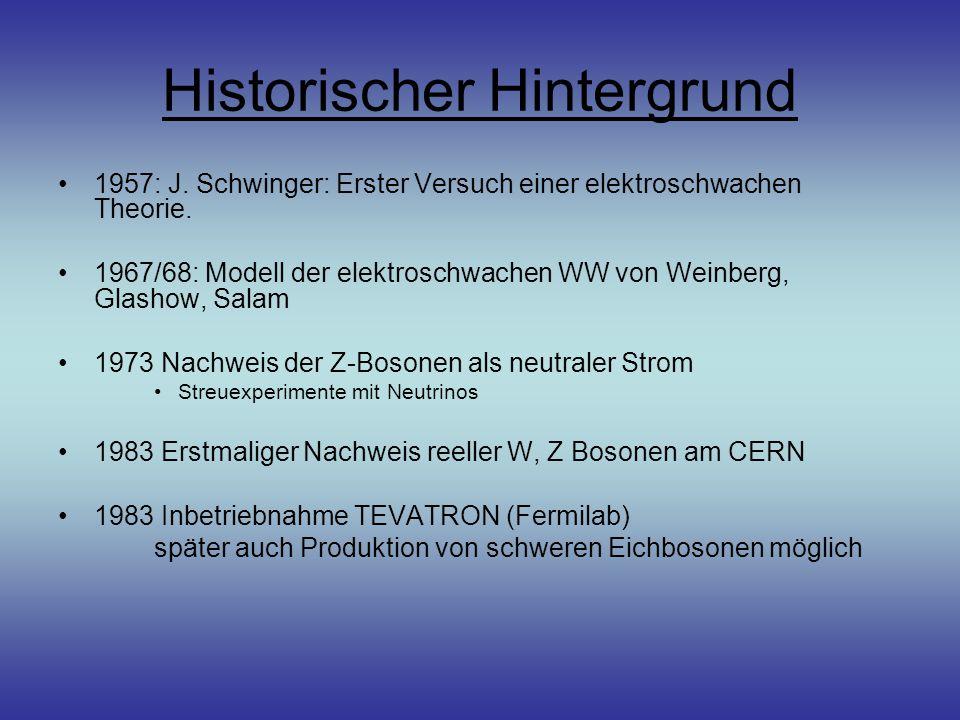 Historischer Hintergrund 1957: J. Schwinger: Erster Versuch einer elektroschwachen Theorie. 1967/68: Modell der elektroschwachen WW von Weinberg, Glas