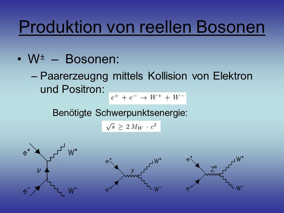 Produktion von reellen Bosonen W ± – Bosonen: –Paarerzeugng mittels Kollision von Elektron und Positron: Benötigte Schwerpunktsenergie:
