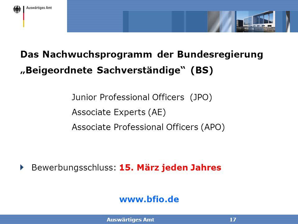 Auswärtiges Amt17 Junior Professional Officers (JPO) Associate Experts (AE) Associate Professional Officers (APO) Das Nachwuchsprogramm der Bundesregi