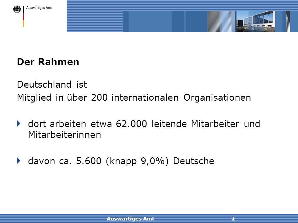 Auswärtiges Amt2 Der Rahmen Deutschland ist Mitglied in über 200 internationalen Organisationen dort arbeiten etwa 62.000 leitende Mitarbeiter und Mit