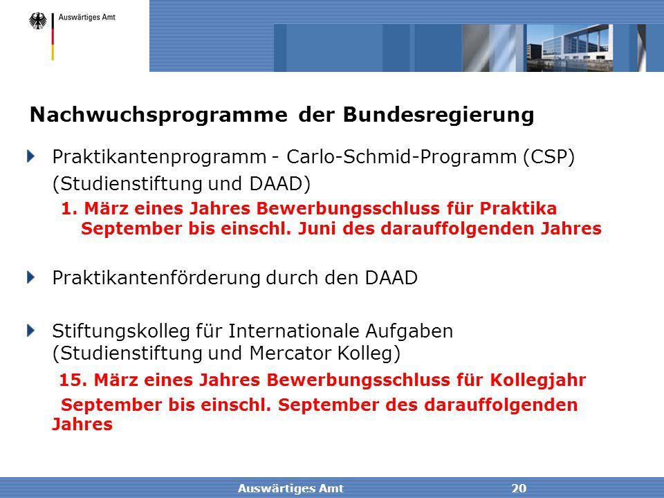 Auswärtiges Amt20 Nachwuchsprogramme der Bundesregierung Praktikantenprogramm - Carlo-Schmid-Programm (CSP) (Studienstiftung und DAAD) 1. März eines J