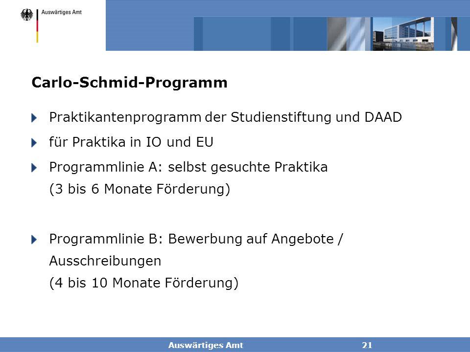 Auswärtiges Amt21 Carlo-Schmid-Programm Praktikantenprogramm der Studienstiftung und DAAD für Praktika in IO und EU Programmlinie A: selbst gesuchte P