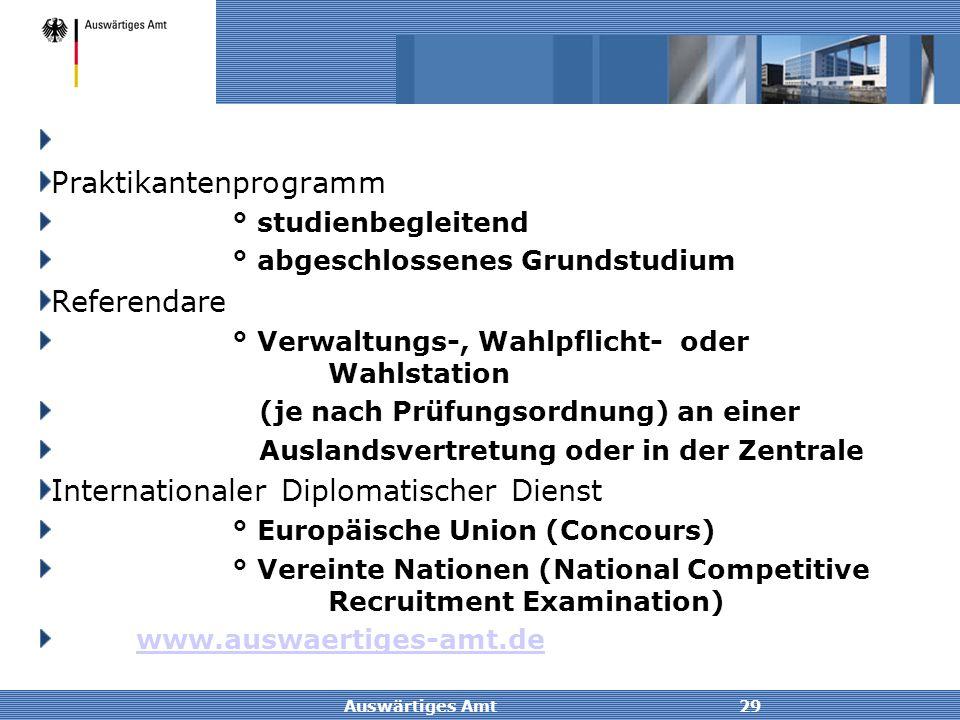 Auswärtiges Amt29 Praktikantenprogramm ° studienbegleitend ° abgeschlossenes Grundstudium Referendare ° Verwaltungs-, Wahlpflicht- oder Wahlstation (j