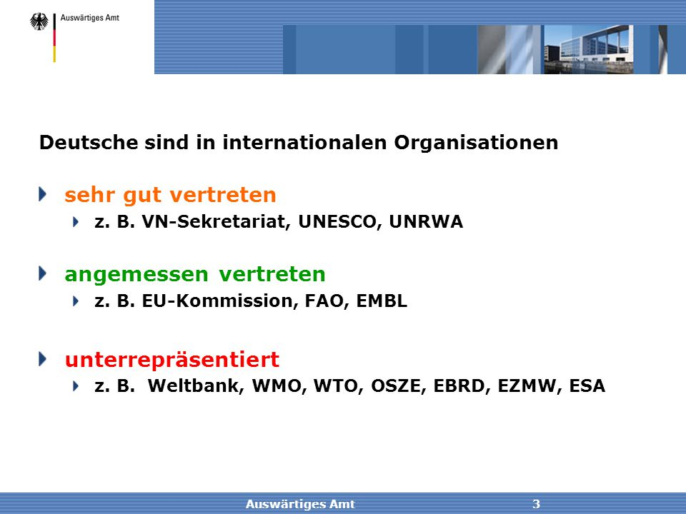Auswärtiges Amt3 Deutsche sind in internationalen Organisationen sehr gut vertreten z. B. VN-Sekretariat, UNESCO, UNRWA angemessen vertreten z. B. EU-