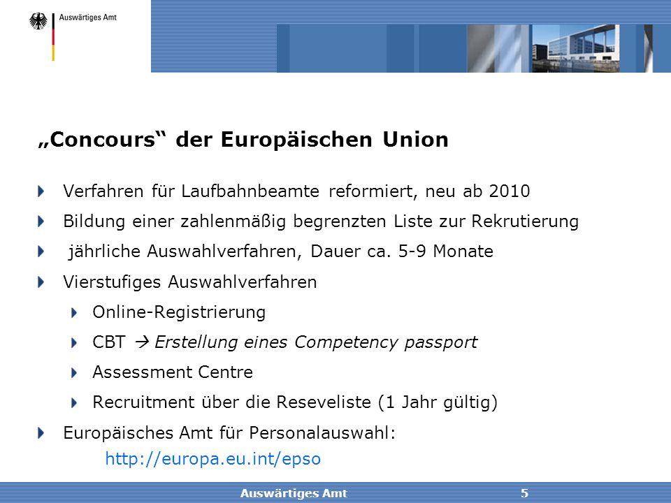 """Auswärtiges Amt5 """"Concours"""" der Europäischen Union Verfahren für Laufbahnbeamte reformiert, neu ab 2010 Bildung einer zahlenmäßig begrenzten Liste zur"""