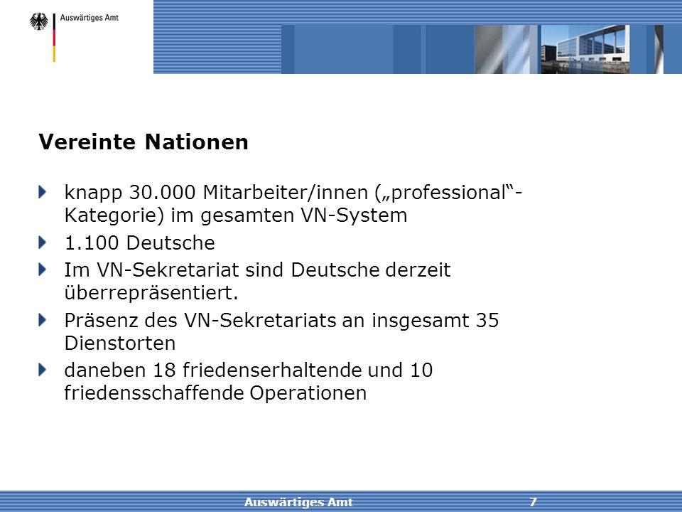 """Auswärtiges Amt7 Vereinte Nationen knapp 30.000 Mitarbeiter/innen (""""professional""""- Kategorie) im gesamten VN-System 1.100 Deutsche Im VN-Sekretariat s"""
