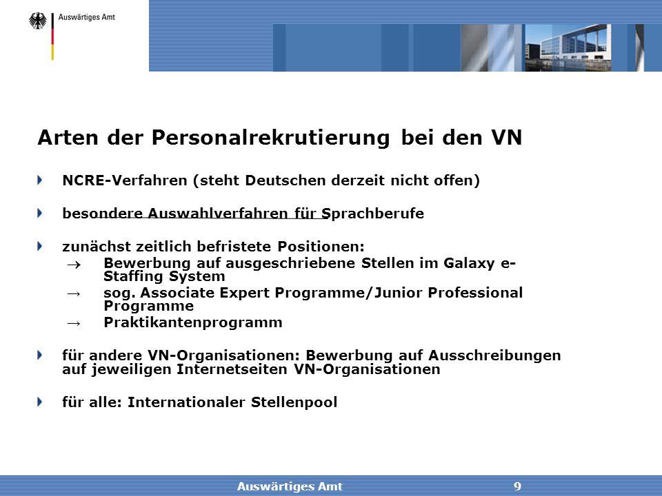Auswärtiges Amt9 Arten der Personalrekrutierung bei den VN NCRE-Verfahren (steht Deutschen derzeit nicht offen) besondere Auswahlverfahren für Sprachb