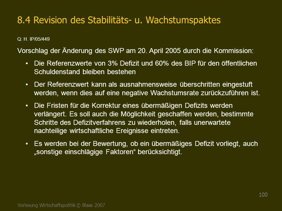 Vorlesung Wirtschaftspolitik © Blaas 2007 100 8.4 Revision des Stabilitäts- u. Wachstumspaktes Q: H. IP/05/449 Vorschlag der Änderung des SWP am 20. A