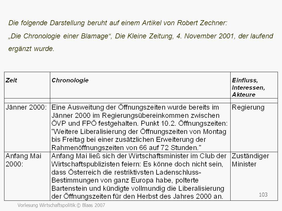 """Vorlesung Wirtschaftspolitik © Blaas 2007 103 Die folgende Darstellung beruht auf einem Artikel von Robert Zechner: """"Die Chronologie einer Blamage"""", D"""