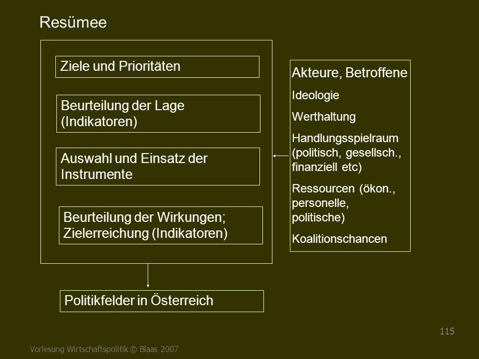 Vorlesung Wirtschaftspolitik © Blaas 2007 115 Ziele und Prioritäten Auswahl und Einsatz der Instrumente Beurteilung der Wirkungen; Zielerreichung (Ind