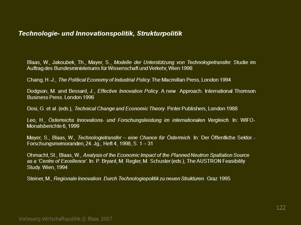 Vorlesung Wirtschaftspolitik © Blaas 2007 122 Blaas, W., Jakoubek, Th., Mayer, S., Modelle der Unterstützung von Technologietransfer. Studie im Auftra
