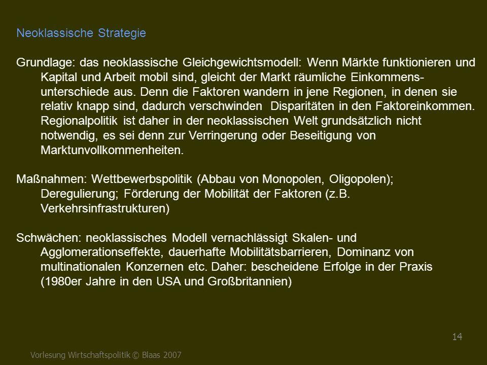 Vorlesung Wirtschaftspolitik © Blaas 2007 14 Neoklassische Strategie Grundlage: das neoklassische Gleichgewichtsmodell: Wenn Märkte funktionieren und