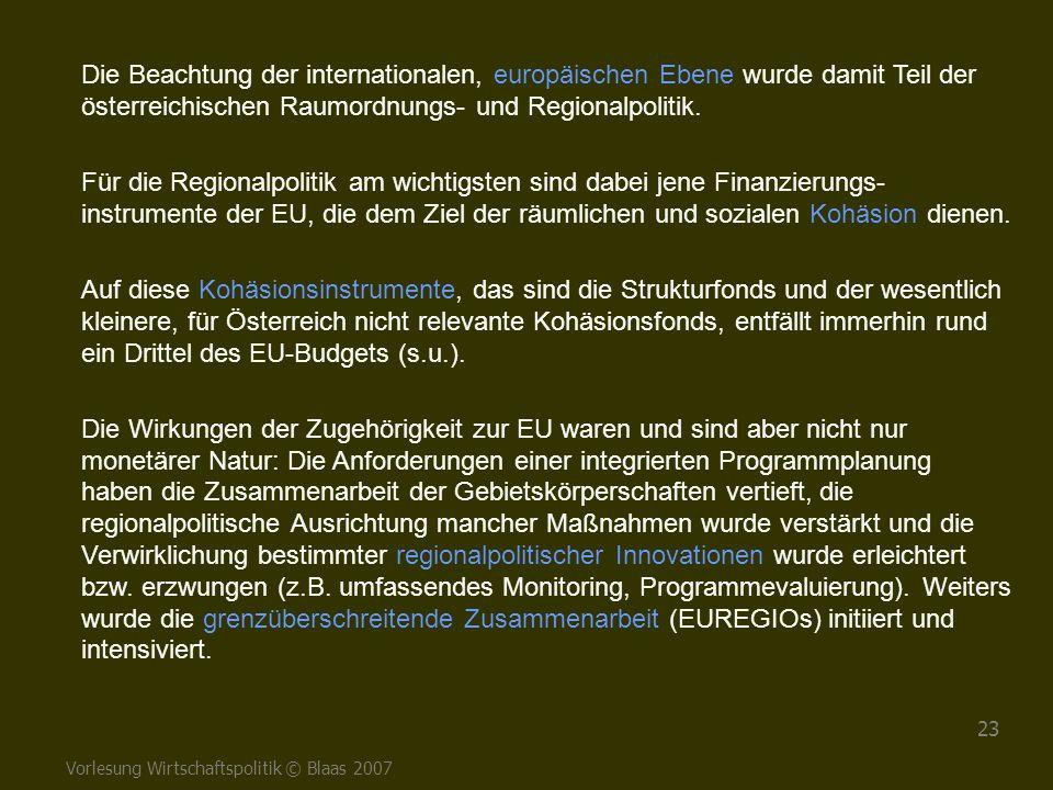Vorlesung Wirtschaftspolitik © Blaas 2007 23 Die Beachtung der internationalen, europäischen Ebene wurde damit Teil der österreichischen Raumordnungs-