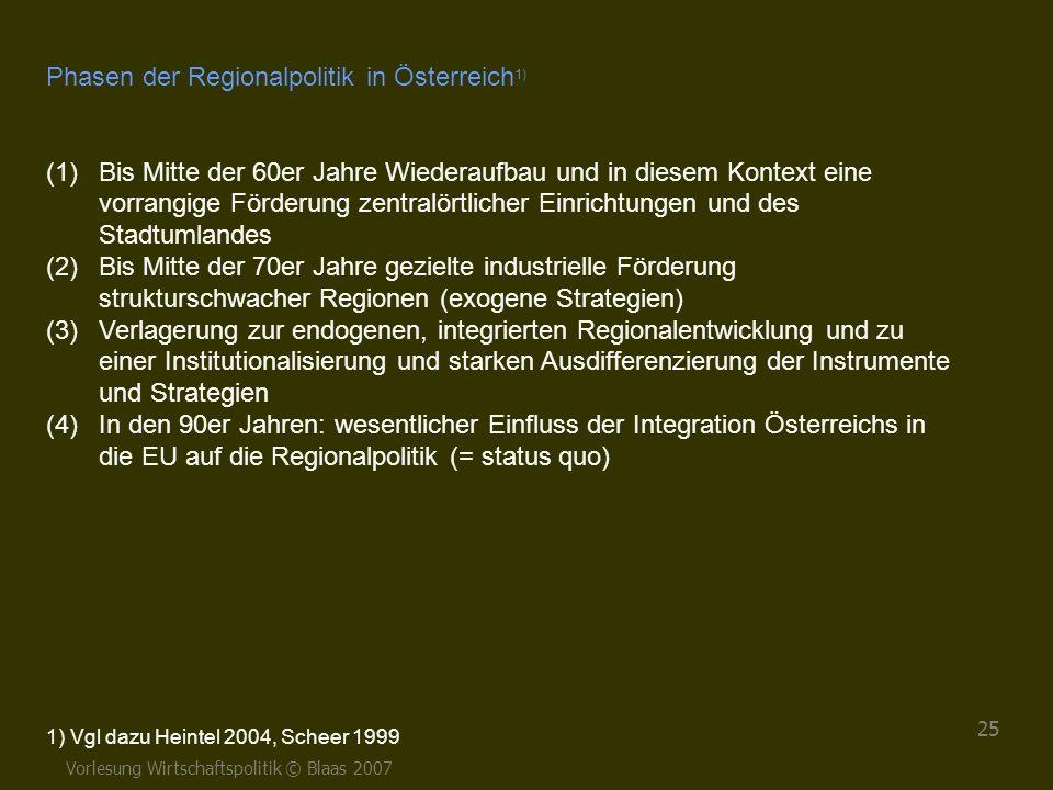 Vorlesung Wirtschaftspolitik © Blaas 2007 25 Phasen der Regionalpolitik in Österreich 1) (1)Bis Mitte der 60er Jahre Wiederaufbau und in diesem Kontex