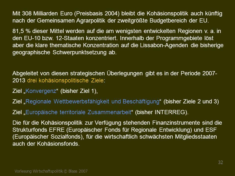 Vorlesung Wirtschaftspolitik © Blaas 2007 32 Mit 308 Milliarden Euro (Preisbasis 2004) bleibt die Kohäsionspolitik auch künftig nach der Gemeinsamen A