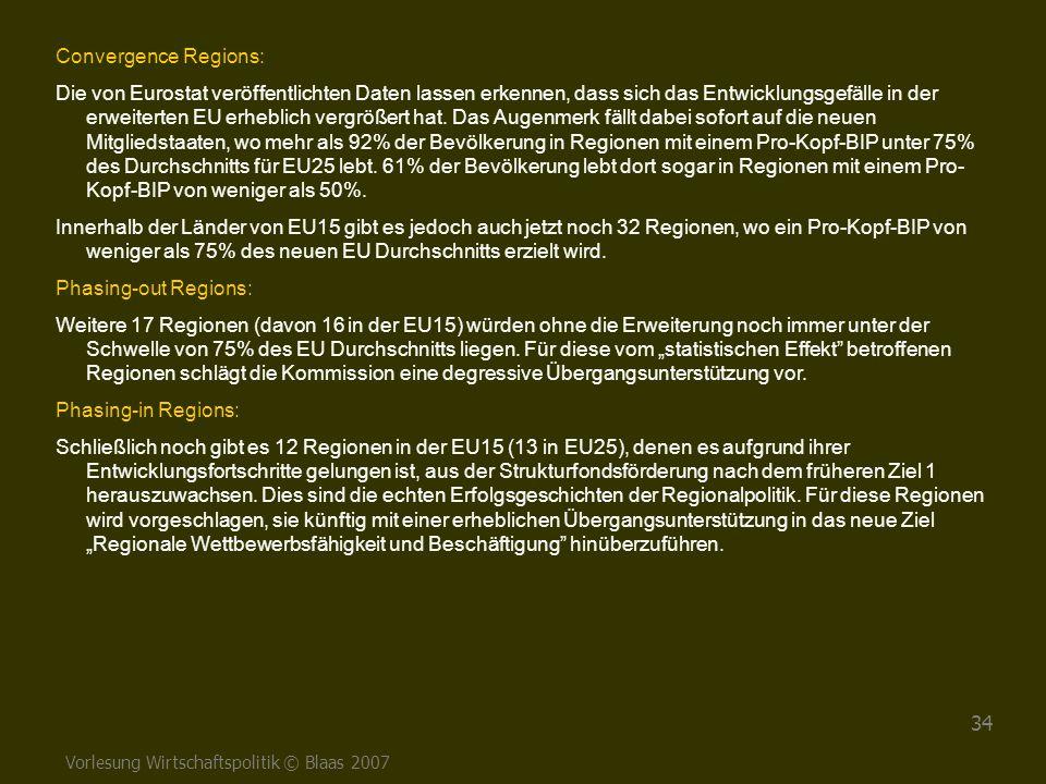 Vorlesung Wirtschaftspolitik © Blaas 2007 34 Convergence Regions: Die von Eurostat veröffentlichten Daten lassen erkennen, dass sich das Entwicklungsg