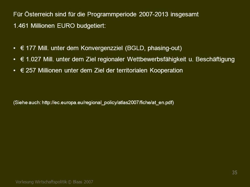 Vorlesung Wirtschaftspolitik © Blaas 2007 35 Für Österreich sind für die Programmperiode 2007-2013 insgesamt 1.461 Millionen EURO budgetiert: € 177 Mi