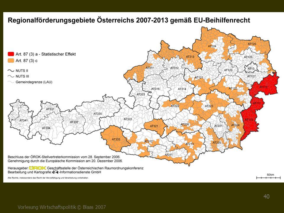 Vorlesung Wirtschaftspolitik © Blaas 2007 40