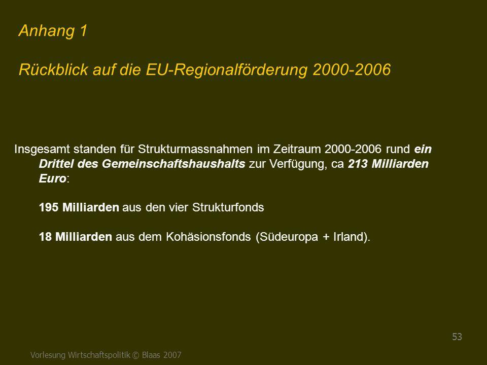 Vorlesung Wirtschaftspolitik © Blaas 2007 53 Anhang 1 Rückblick auf die EU-Regionalförderung 2000-2006 Insgesamt standen für Strukturmassnahmen im Zei