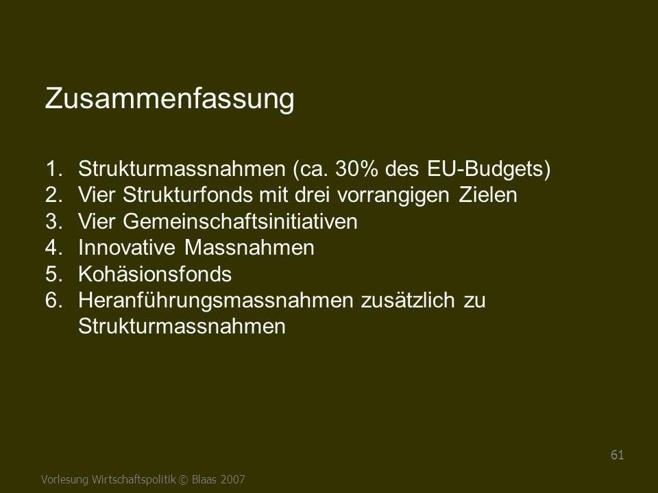 Vorlesung Wirtschaftspolitik © Blaas 2007 61 Zusammenfassung 1.Strukturmassnahmen (ca. 30% des EU-Budgets) 2.Vier Strukturfonds mit drei vorrangigen Z
