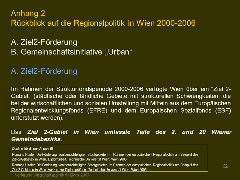 Vorlesung Wirtschaftspolitik © Blaas 2007 62 Anhang 2 Rückblick auf die Regionalpolitik in Wien 2000-2006 A. Ziel2-Förderung B. Gemeinschaftsinitiativ