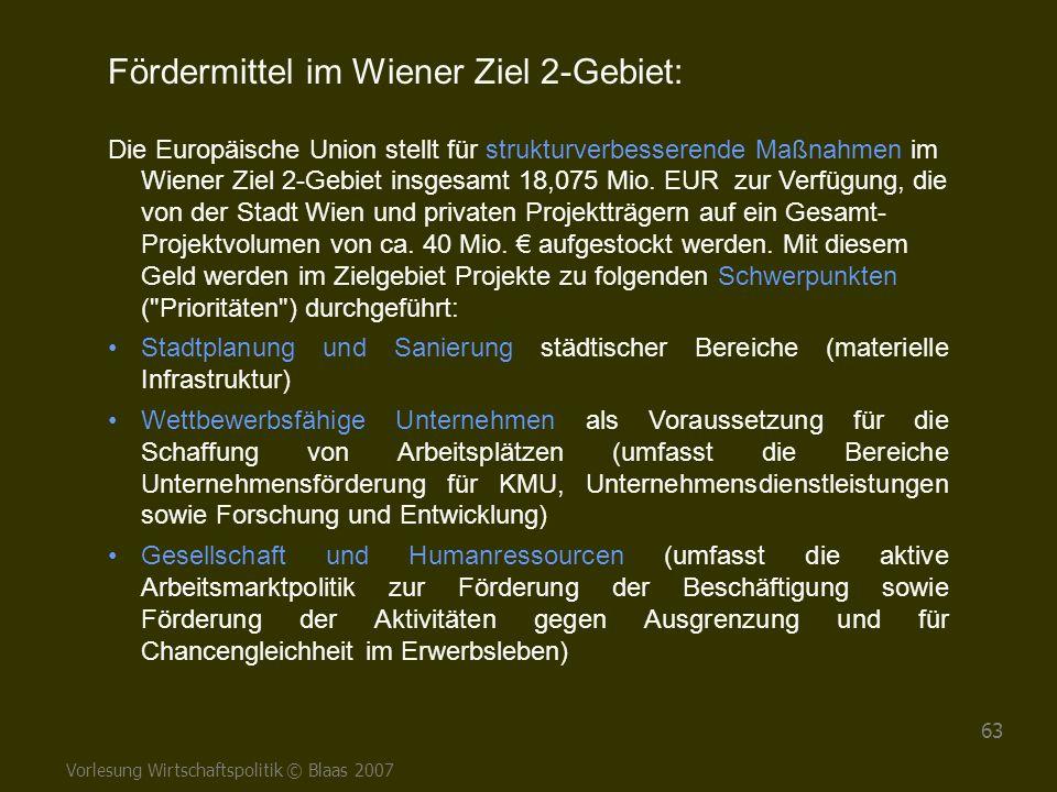 Vorlesung Wirtschaftspolitik © Blaas 2007 63 Fördermittel im Wiener Ziel 2-Gebiet: Die Europäische Union stellt für strukturverbesserende Maßnahmen im