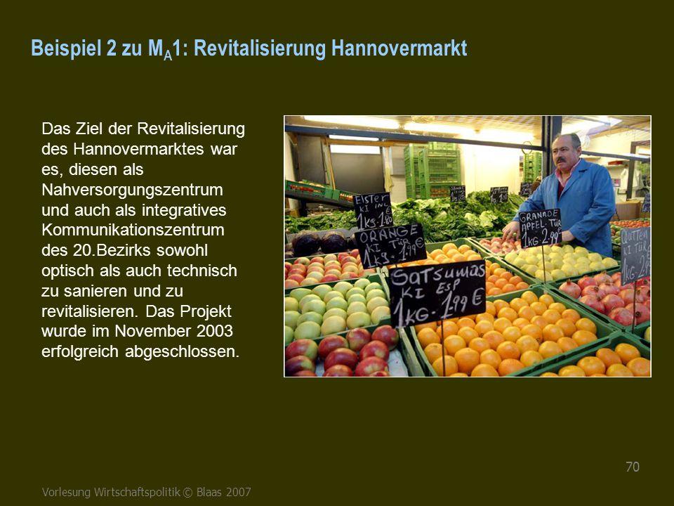 Vorlesung Wirtschaftspolitik © Blaas 2007 70 Beispiel 2 zu M A 1: Revitalisierung Hannovermarkt Das Ziel der Revitalisierung des Hannovermarktes war e