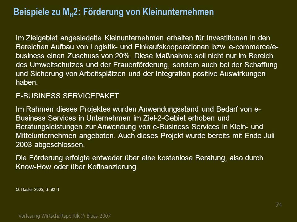 Vorlesung Wirtschaftspolitik © Blaas 2007 74 Beispiele zu M B 2: Förderung von Kleinunternehmen Im Zielgebiet angesiedelte Kleinunternehmen erhalten f