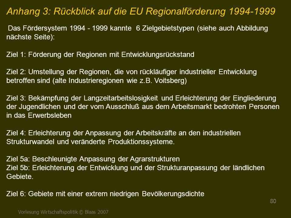 Vorlesung Wirtschaftspolitik © Blaas 2007 80 Anhang 3: Rückblick auf die EU Regionalförderung 1994-1999 Das Fördersystem 1994 - 1999 kannte 6 Zielgebi