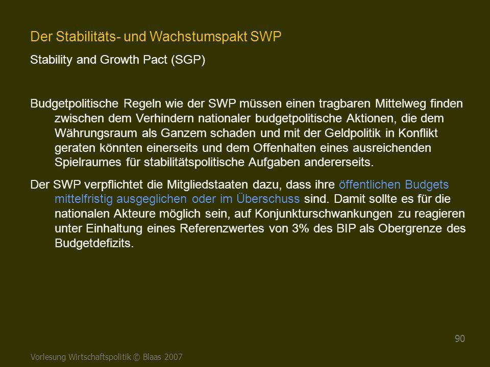 Vorlesung Wirtschaftspolitik © Blaas 2007 90 Der Stabilitäts- und Wachstumspakt SWP Stability and Growth Pact (SGP) Budgetpolitische Regeln wie der SW