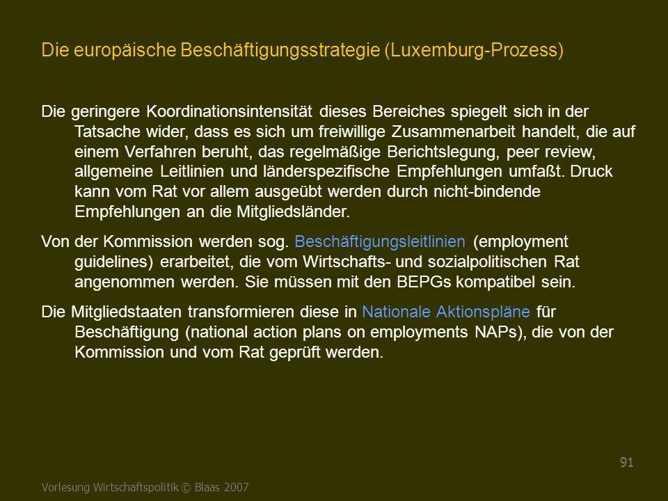 Vorlesung Wirtschaftspolitik © Blaas 2007 91 Die europäische Beschäftigungsstrategie (Luxemburg-Prozess) Die geringere Koordinationsintensität dieses