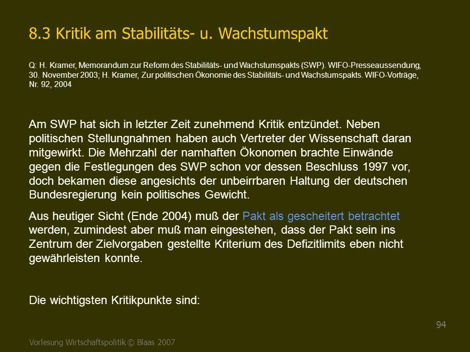 Vorlesung Wirtschaftspolitik © Blaas 2007 94 8.3 Kritik am Stabilitäts- u. Wachstumspakt Q: H. Kramer, Memorandum zur Reform des Stabilitäts- und Wach