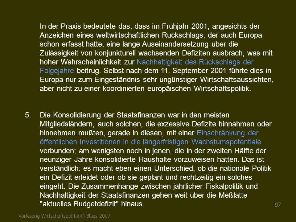 Vorlesung Wirtschaftspolitik © Blaas 2007 97 In der Praxis bedeutete das, dass im Frühjahr 2001, angesichts der Anzeichen eines weltwirtschaftlichen R