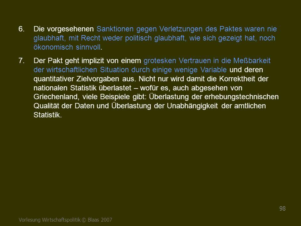 Vorlesung Wirtschaftspolitik © Blaas 2007 98 6.Die vorgesehenen Sanktionen gegen Verletzungen des Paktes waren nie glaubhaft, mit Recht weder politisc