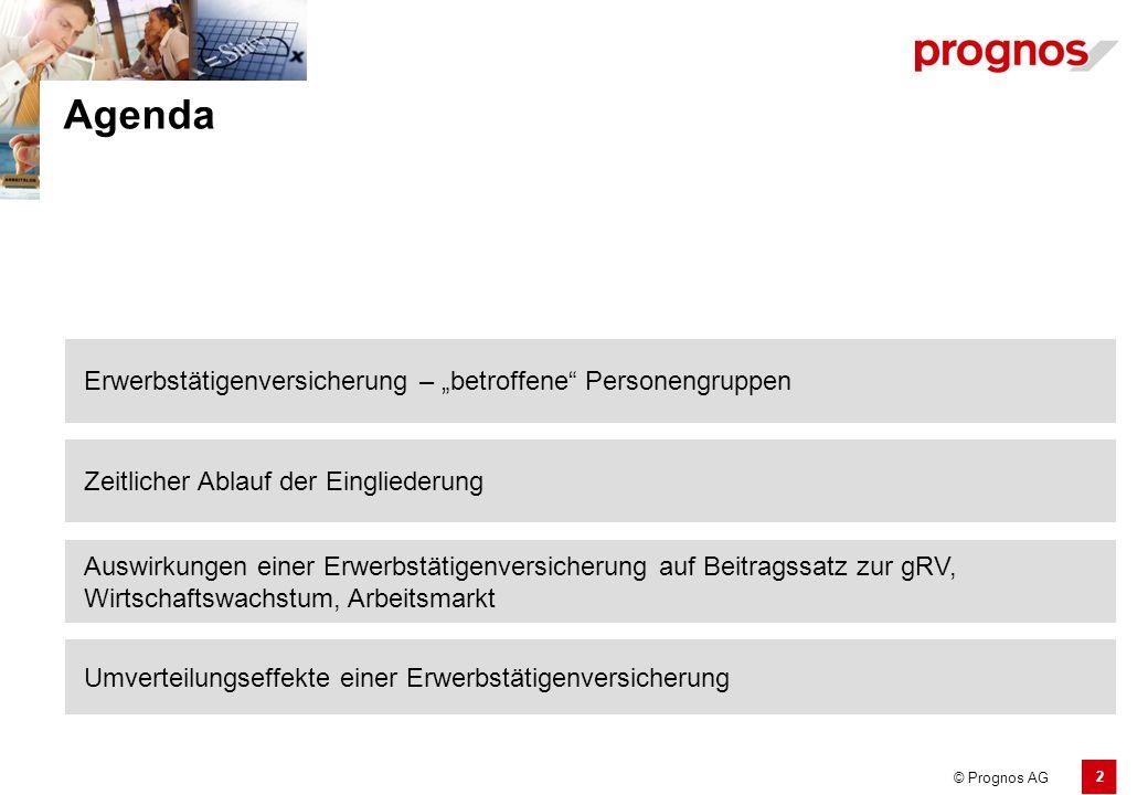 """2 © Prognos AG Erwerbstätigenversicherung – """"betroffene"""" Personengruppen Agenda Zeitlicher Ablauf der Eingliederung Umverteilungseffekte einer Erwerbs"""