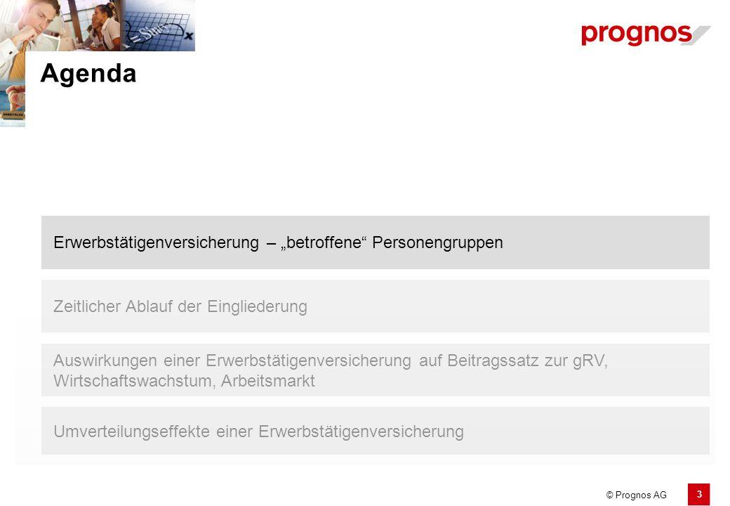 """3 © Prognos AG Erwerbstätigenversicherung – """"betroffene"""" Personengruppen Agenda Zeitlicher Ablauf der Eingliederung Umverteilungseffekte einer Erwerbs"""