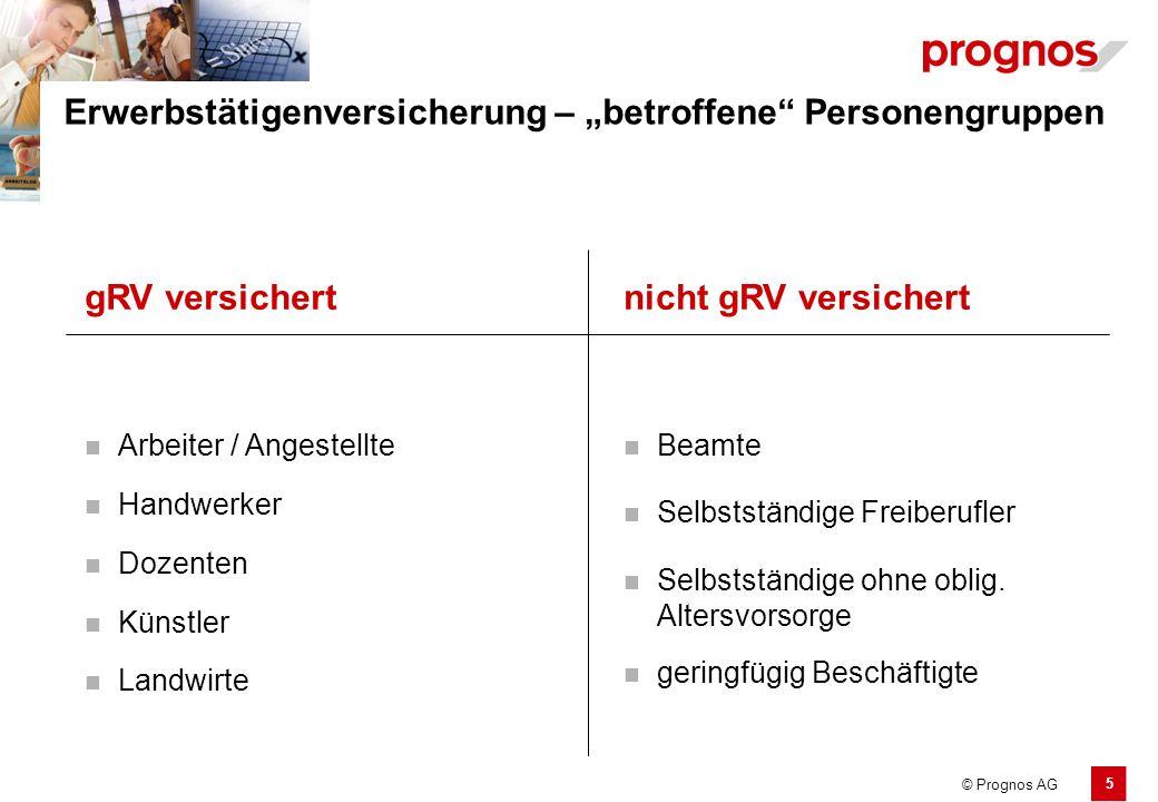 """5 © Prognos AG Erwerbstätigenversicherung – """"betroffene"""" Personengruppen Arbeiter / Angestellte Selbstständige Freiberufler Künstler Selbstständige oh"""