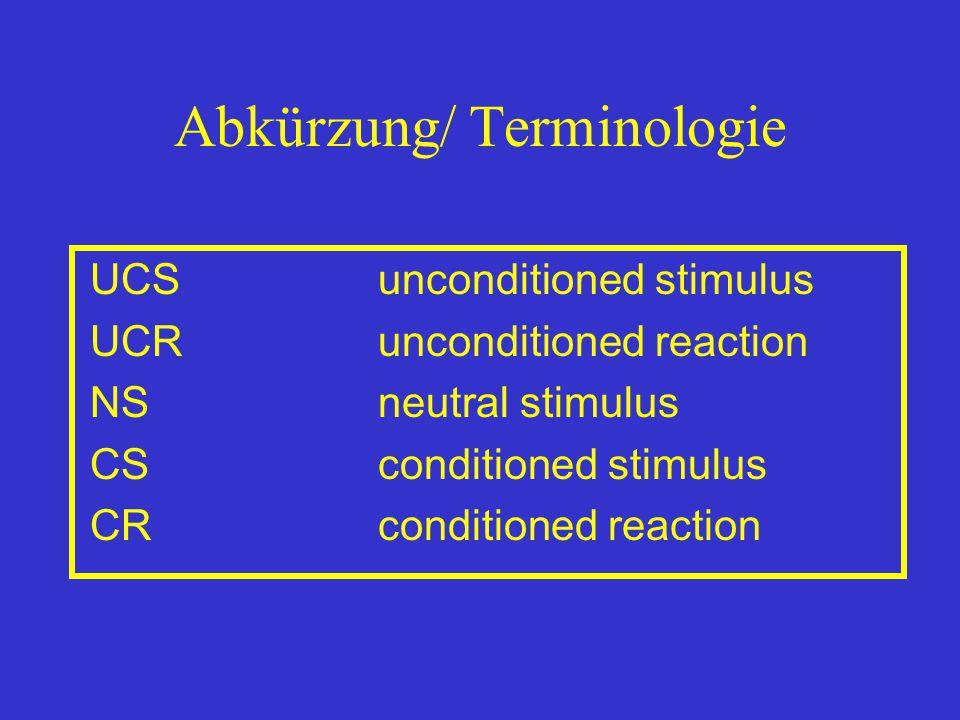 Abkürzung/ Terminologie UCSunconditioned stimulus UCRunconditioned reaction NSneutral stimulus CSconditioned stimulus CRconditioned reaction