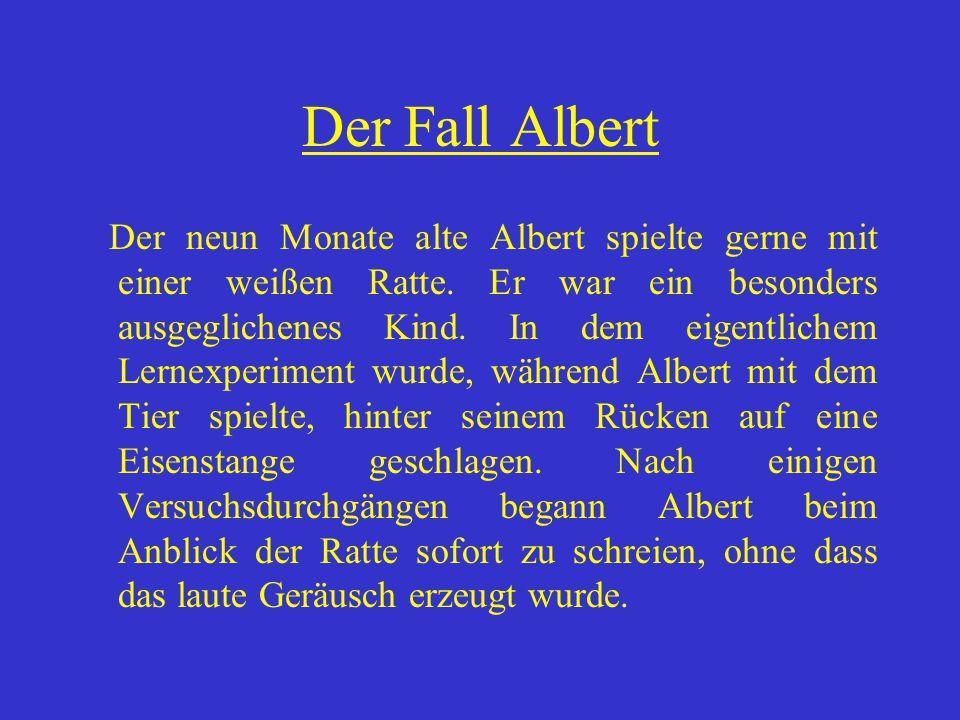 Der Fall Albert Der neun Monate alte Albert spielte gerne mit einer weißen Ratte. Er war ein besonders ausgeglichenes Kind. In dem eigentlichem Lernex
