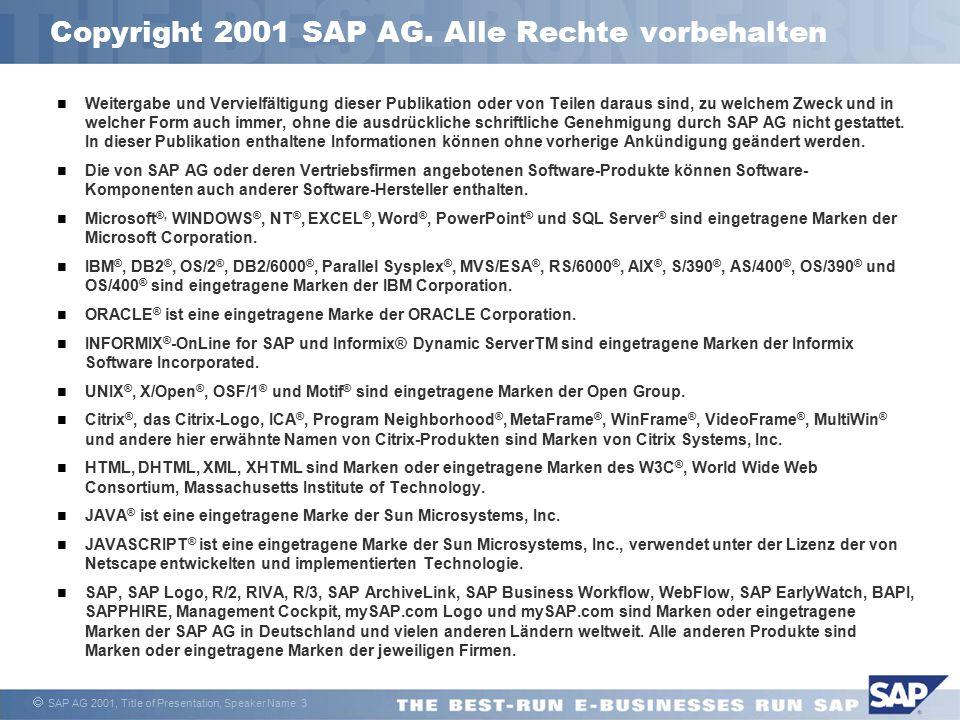  SAP AG 2001, Title of Presentation, Speaker Name 3 Weitergabe und Vervielfältigung dieser Publikation oder von Teilen daraus sind, zu welchem Zweck