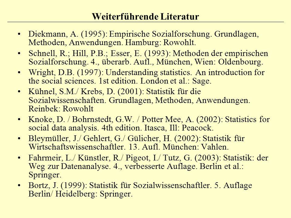 Weiterführende Literatur Diekmann, A. (1995): Empirische Sozialforschung. Grundlagen, Methoden, Anwendungen. Hamburg: Rowohlt. Schnell, R.; Hill, P.B.