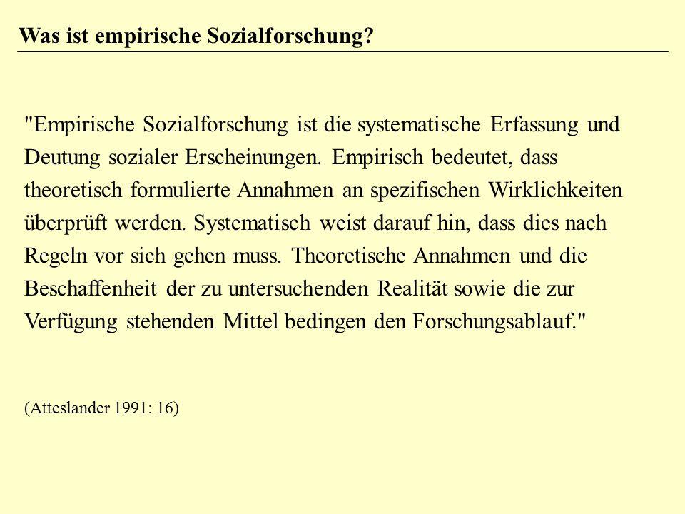 Empirische Sozialforschung ist die systematische Erfassung und Deutung sozialer Erscheinungen.