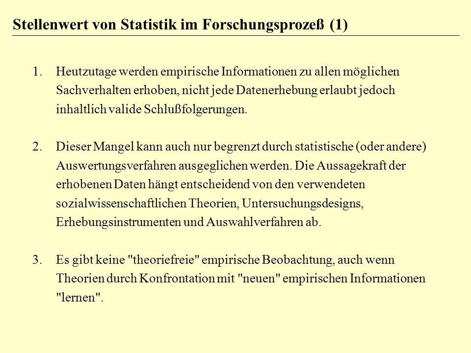 1.Heutzutage werden empirische Informationen zu allen möglichen Sachverhalten erhoben, nicht jede Datenerhebung erlaubt jedoch inhaltlich valide Schlu