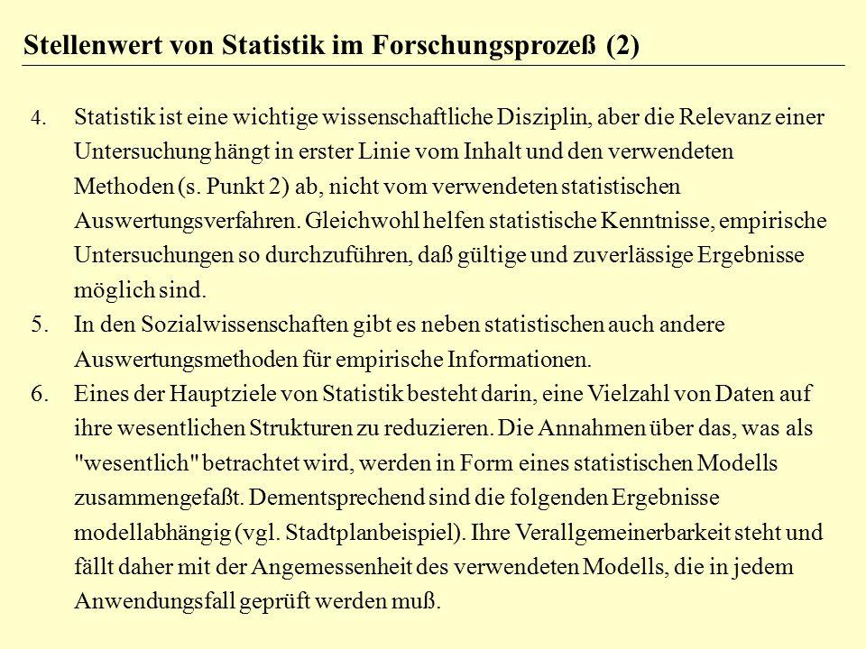 4. Statistik ist eine wichtige wissenschaftliche Disziplin, aber die Relevanz einer Untersuchung hängt in erster Linie vom Inhalt und den verwendeten