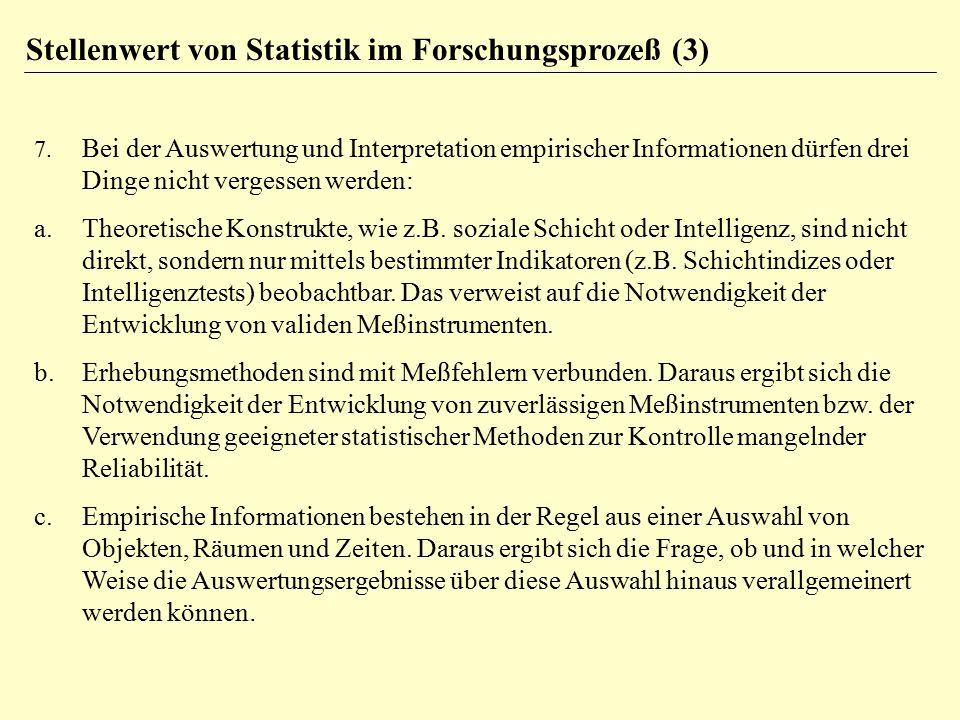 7. Bei der Auswertung und Interpretation empirischer Informationen dürfen drei Dinge nicht vergessen werden: a.Theoretische Konstrukte, wie z.B. sozia