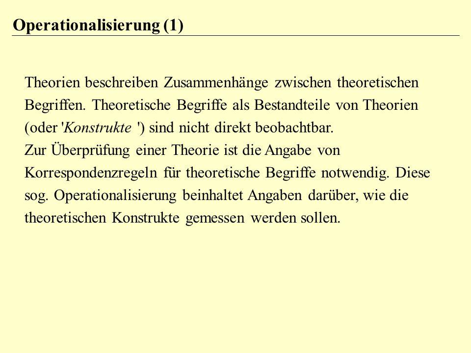 Theorien beschreiben Zusammenhänge zwischen theoretischen Begriffen. Theoretische Begriffe als Bestandteile von Theorien (oder 'Konstrukte ') sind nic