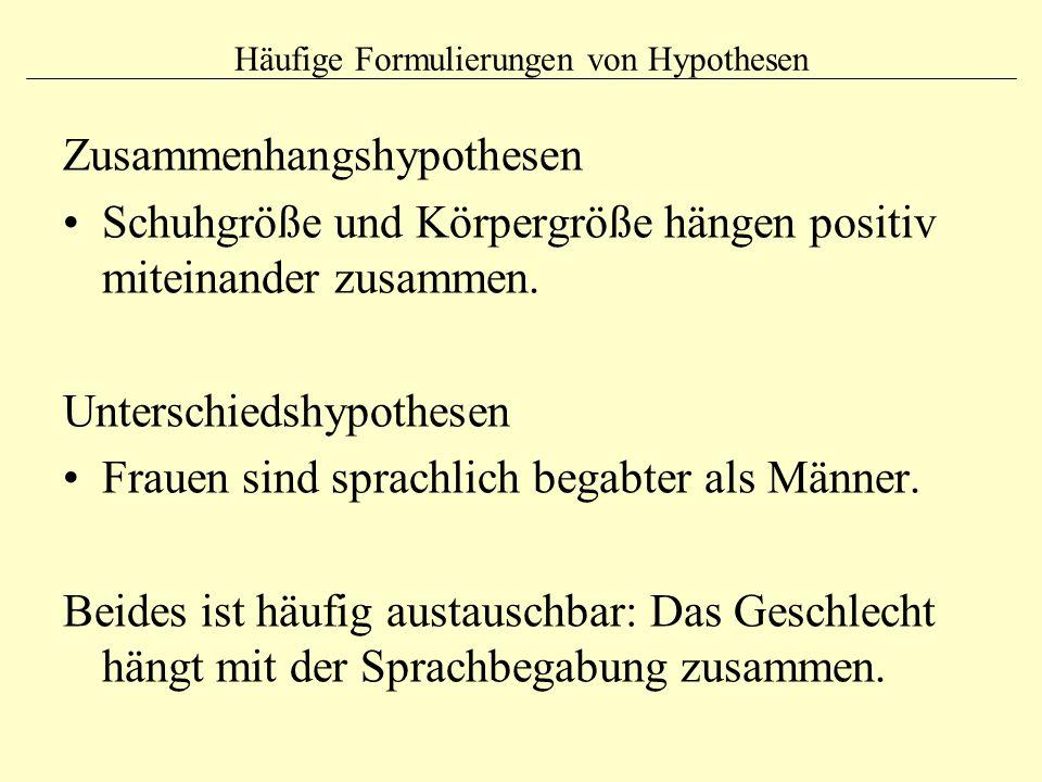 Häufige Formulierungen von Hypothesen Zusammenhangshypothesen Schuhgröße und Körpergröße hängen positiv miteinander zusammen. Unterschiedshypothesen F